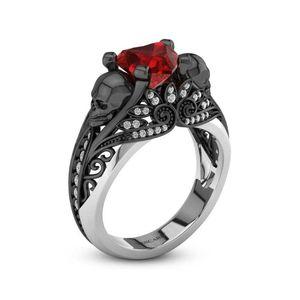 Black Skull Engagement Ring For Women Heart Ruby S